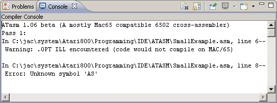 IDE compiler console view