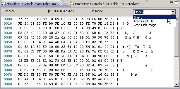 Hex Editor file mode selection