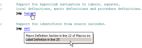 IDE navigation to labels, equates, local definitions, macro definitions and procedure definitions
