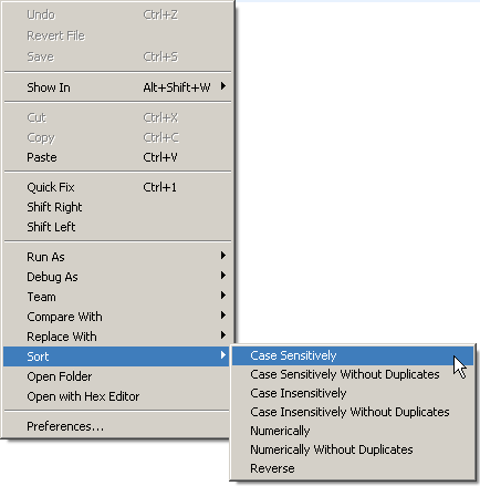 Sort action in text editor context menu