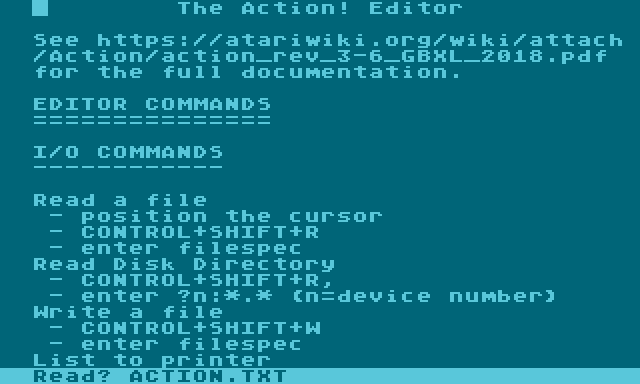 Atari Action! Editor documentation.